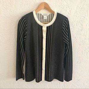 Misook Pearl Button Cardigan Black / Ivory S
